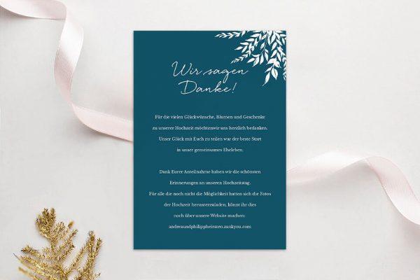 Dankeskarten zur Hochzeit Aufnahme mit einfachem Kranz Dankeskarten