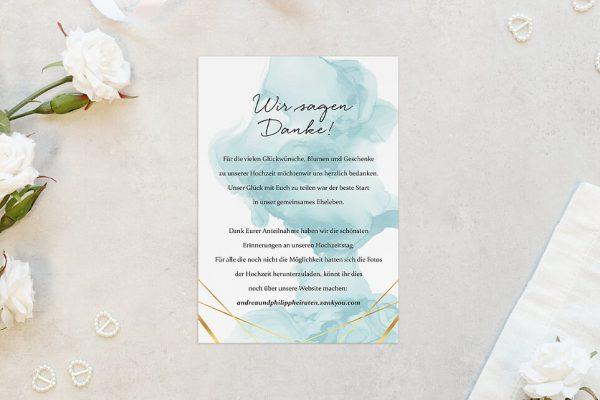 Dankeskarten zur Hochzeit Himmel Strahlend Dankeskarten