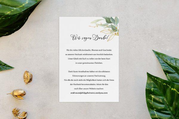 Dankeskarten zur Hochzeit Greenery Golden Dankeskarten