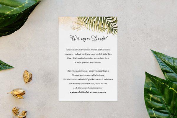 Dankeskarten zur Hochzeit Greenery Exotisch Dankeskarten