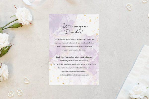 Dankeskarten zur Hochzeit Batik Veilchenblau Dankeskarten