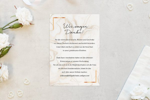 Dankeskarten zur Hochzeit Batik Marmor Dankeskarten