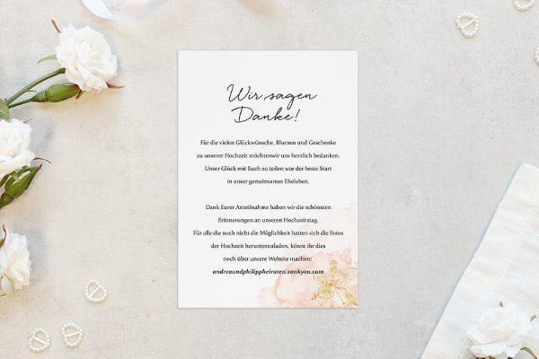 Dankeskarten zur Hochzeit Aprikosen Explosion Edel Dankeskarten