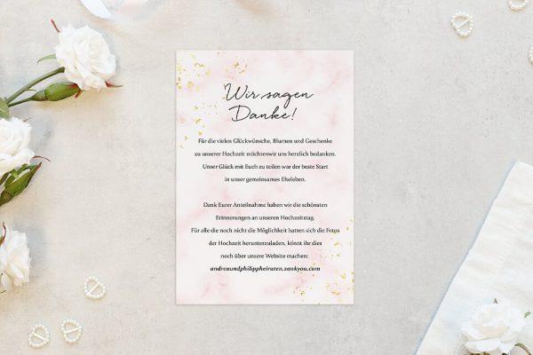 Dankeskarten zur Hochzeit Morgenröte Rosa Hauch Dankeskarten
