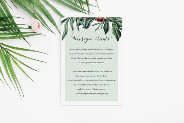 Dankeskarten zur Hochzeit Tropical Sorbus aucuparia Dankeskarten