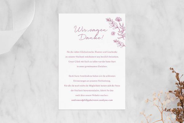 Dankeskarten zur Hochzeit Rosenpracht Traumhaft Dankeskarten