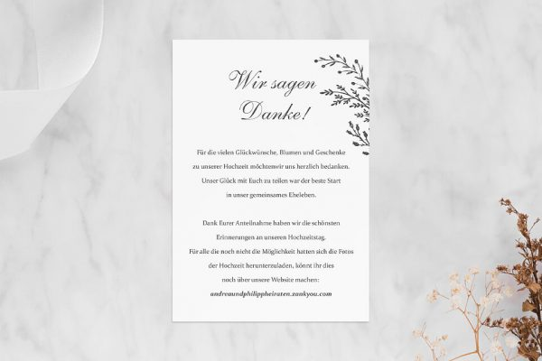 Dankeskarten zur Hochzeit Rosenpracht mit Tannenzweigen Dankeskarten