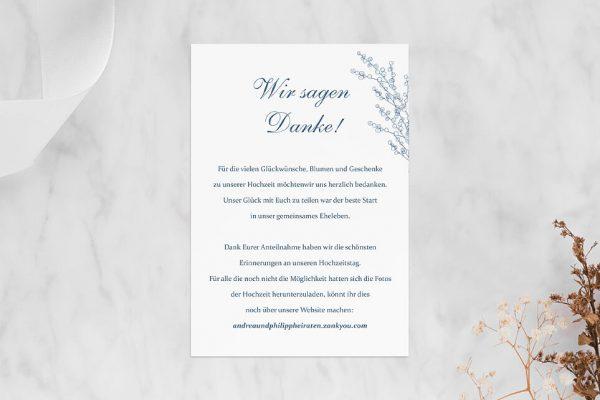 Dankeskarten zur Hochzeit Rosenpracht mit Tannenzapfen Dankeskarten