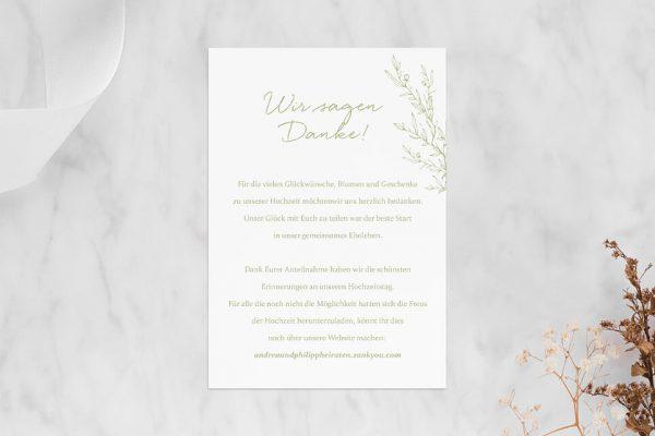Dankeskarten zur Hochzeit Rosenpracht mit wildem Gras Dankeskarten