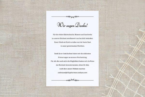 Dankeskarten zur Hochzeit Fotoglück Fotoglück Blättchen Dankeskarten