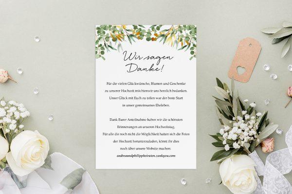 Dankeskarten zur Hochzeit Minimalistischer Kranz Dschungel Grün Dankeskarten
