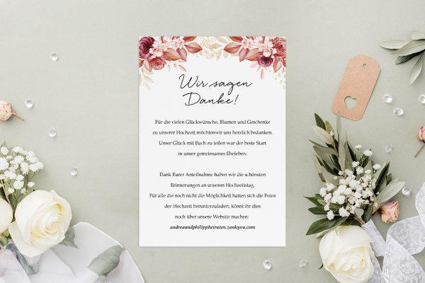 Dankeskarten zur Hochzeit Minimalistischer Kranz Rosa Eleganz Dankeskarten