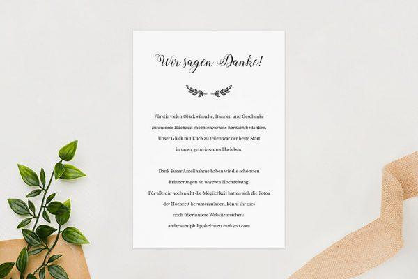 Dankeskarten zur Hochzeit Country Bast Ländlich Dankeskarten