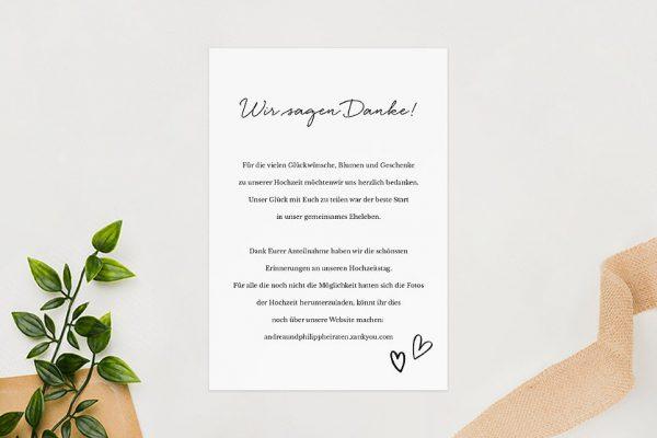 Dankeskarten zur Hochzeit Country Bast Herzig Dankeskarten