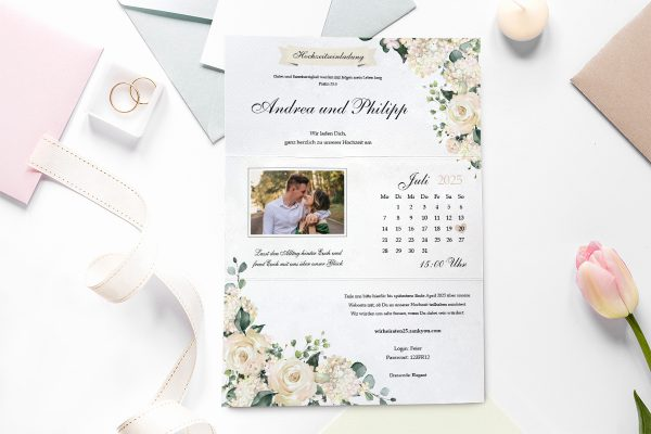 Einladungskarten mit Fotos Hochzeitseinladungen Blumenherz Duftend
