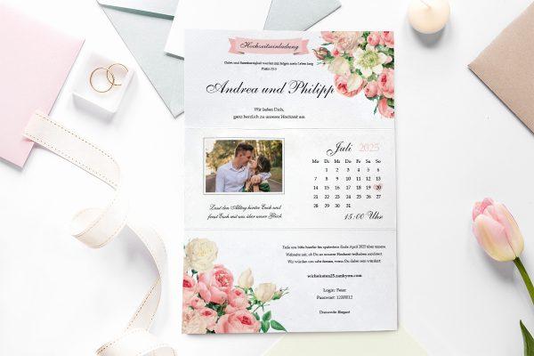 Einladungskarten mit Fotos Hochzeitseinladungen Blumenherz Aromatisch