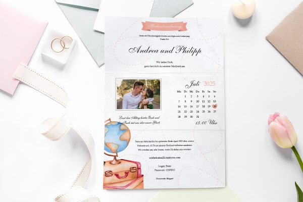 Einladungskarten mit Fotos Hochzeitseinladungen Blumenherz Weltreise