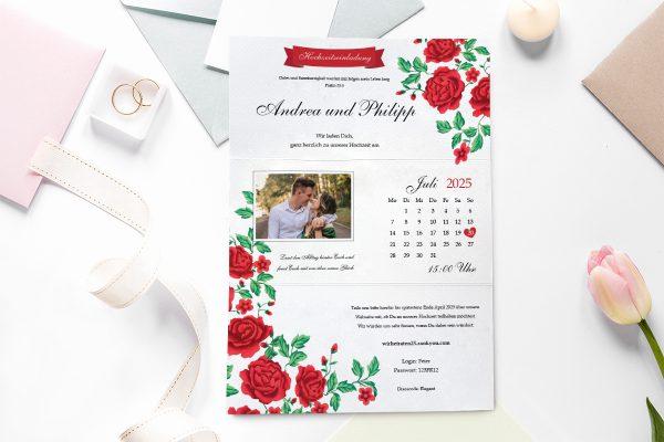 Einladungskarten mit Fotos Hochzeitseinladungen Blumenherz Rote Rosen
