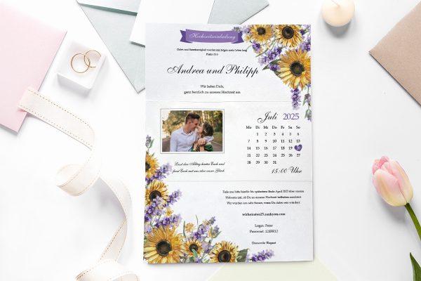 Einladungskarten mit Fotos Hochzeitseinladungen Blumenherz Sonnenblumen