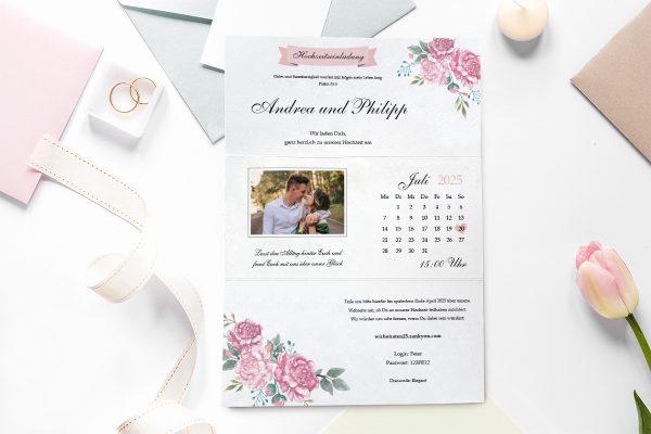 Einladungskarten mit Fotos Hochzeitseinladungen Blumenherz Blumenecke