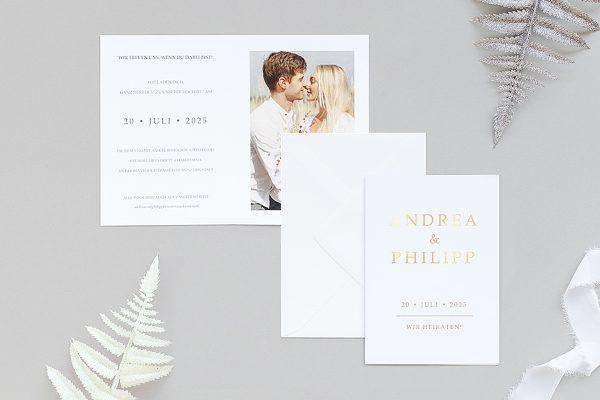 Einladungskarten mit Fotos Hochzeitseinladungen Prachtvoll strahlend