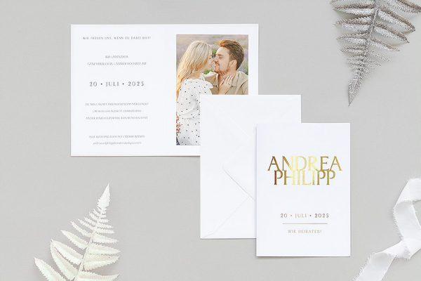 Einladungskarten mit Fotos Hochzeitseinladungen Prachtvoll harmonisch