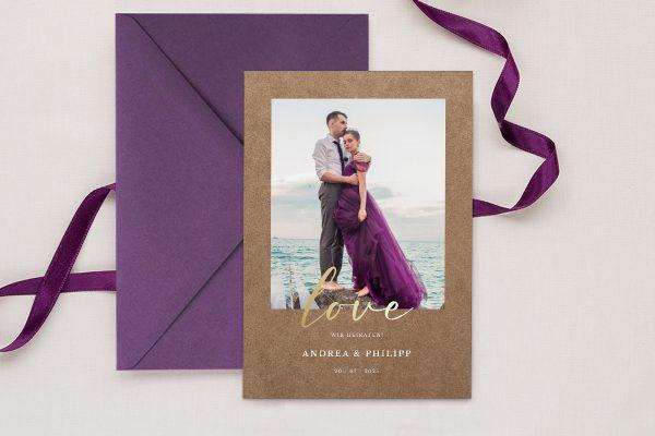 Einladungskarten mit Fotos Hochzeitseinladungen Modern Bast Blau