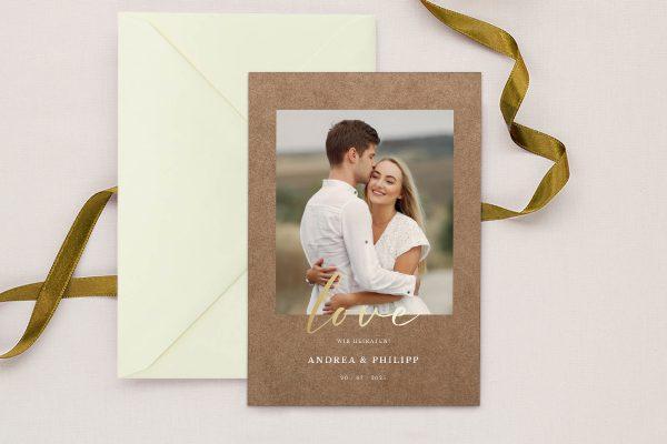 Einladungskarten mit Fotos Hochzeitseinladungen Modern Bast Gegensätzlich