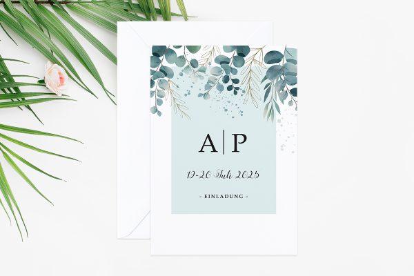 Hochzeitseinladungen Hochzeitseinladungen Tropical Eukalyptus