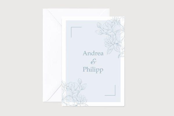 Hochzeitseinladungen Hochzeitseinladungen Romantic Flowers  Blue Cotton