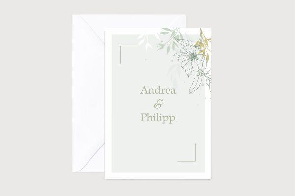 Hochzeitseinladungen Hochzeitseinladungen Romantic Flowers Green Temptation