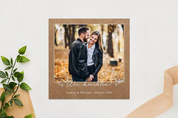 Einladungskarten mit Fotos Hochzeitseinladungen Country Bast Herzig