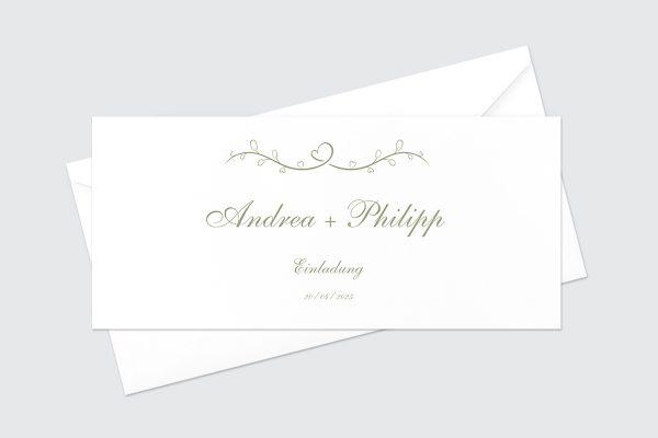 Hochzeitseinladungen Hochzeitseinladungen Tender Love Grün ist die Liebe