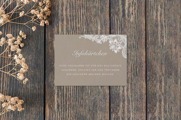 Extras Spitzentraum Vintage moon light Hochzeitsinfokärtchen