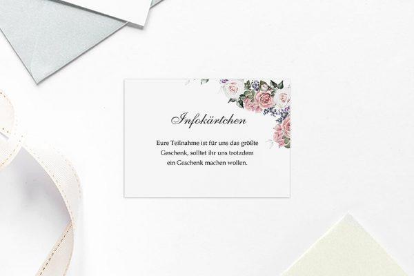 Extras Blumenherz Wohlriechend Hochzeitsinfokärtchen