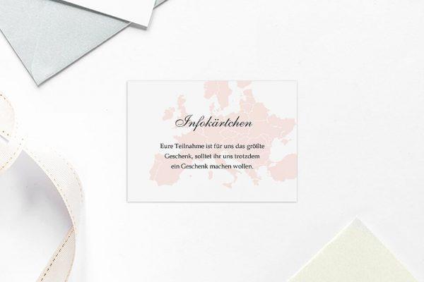 Extras Blumenherz Weltreise Hochzeitsinfokärtchen