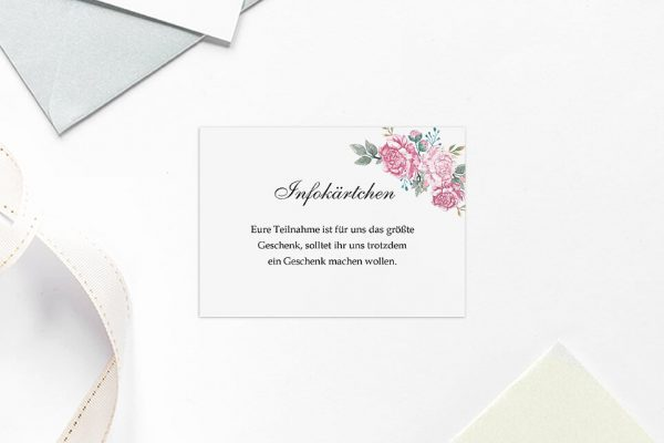 Extras Blumenherz Blumenecke Hochzeitsinfokärtchen