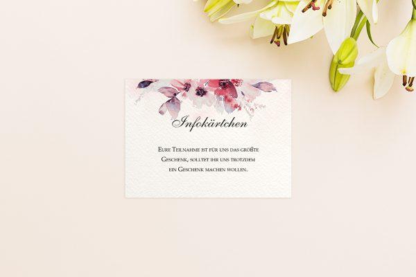 Extras Aquarell Rosa Hochzeitsinfokärtchen