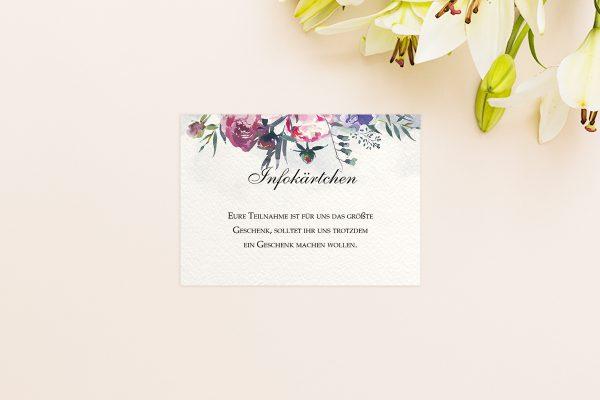 Extras Aquarell Sommerlich Hochzeitsinfokärtchen