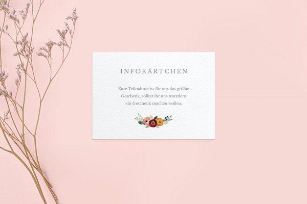 Extras Blumenbeet Sorglos Hochzeitsinfokärtchen