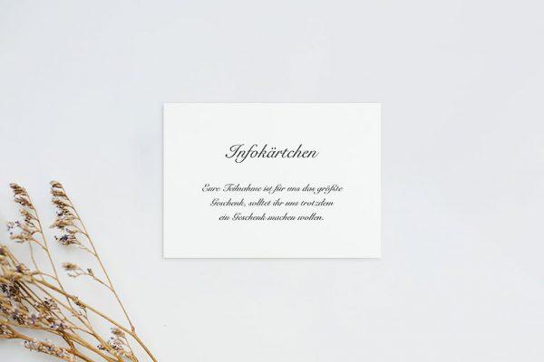 Extras Kalligraphie Elegant geschrieben Hochzeitsinfokärtchen