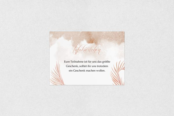 Extras Palmen fernöstlich Hochzeitsinfokärtchen