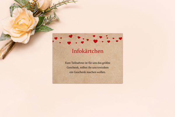 Extras Fingerabdruck Simple Love Hochzeitsinfokärtchen