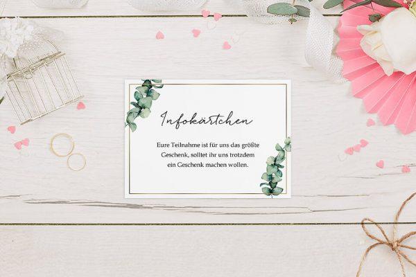 Extras Floral Elegant Romantisch Hochzeitsinfokärtchen