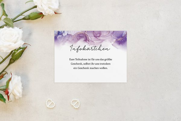 Extras Batik Gold gepunktet Hochzeitsinfokärtchen