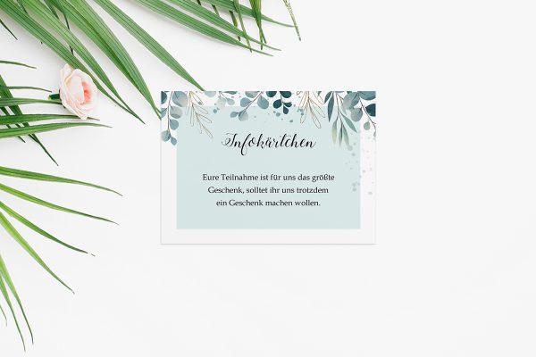 Extras Tropical Eukalyptus Hochzeitsinfokärtchen