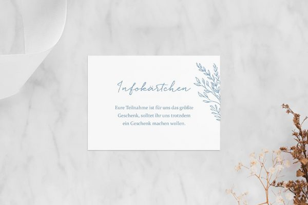 Extras Rosenpracht mit Gräsern Hochzeitsinfokärtchen