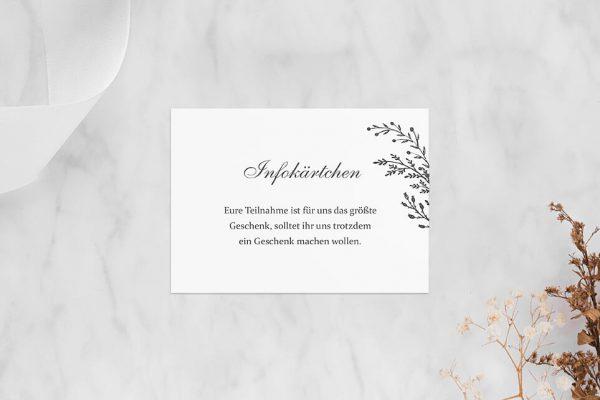 Extras Rosenpracht mit Tannenzweigen Hochzeitsinfokärtchen
