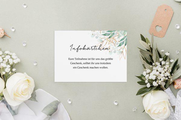 Extras Minimalistischer Kranz Wiesengrün Hochzeitsinfokärtchen