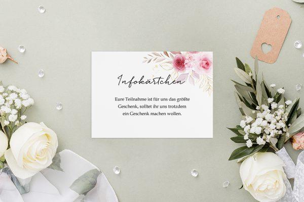 Extras Minimalistischer Kranz Zart Rosa Hochzeitsinfokärtchen